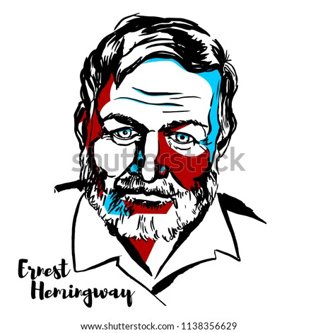 MOSCOW, RUSSIA - JUNE 25, 2018: Ernest Hemingway engraved vector portrait with ink contours. American novelist, short story writer, and journalist. - Shutterstock ID 1138356629