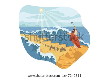 Moses, separation of Red Sea, Bible concept. Prophet Moses holds out his staff and Red Sea was separated by God power. Biblical illustraton of jews exodus from Egypt in cartoon style. Vector flat Stock fotó ©