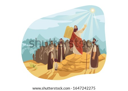 Moses with Gods tablets, Bible concept. Prophet Moses demonstrates to people of Israel stone tablets, receiving from god. Biblical illustration of ten commandments in cartoon style. Vector flat design Stock fotó ©