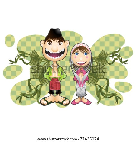 moslem boy and girl having congratulation Eid Mubarak in indonesia