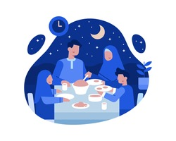Moslem Families Dinner Together at the Dining Table Vector