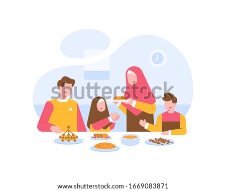 Moslem Family Eat Together At The Dining Table Illustration Vector