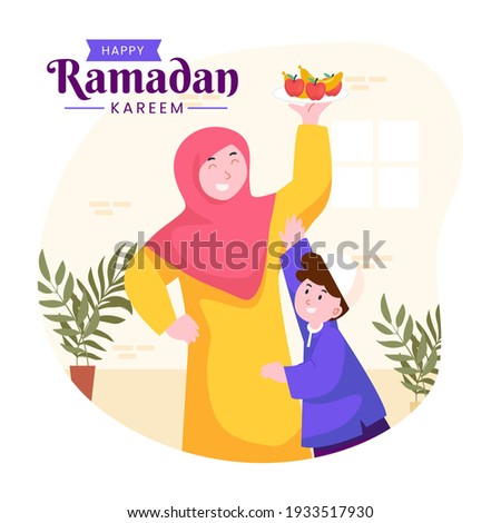 Moslem family iftar enjoying ramadan kareem mubarak together in happiness during fasting with meal, food and dates, suitable for Greeting card, invitation and banner. flat vector illustration Photo stock ©
