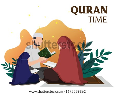 Moslem Family Reading The Quran, Islamic Design Template with Modern Flat Illustration, Suitable for Poster, Ramadan Themes, Iftar and Moslem Holiday