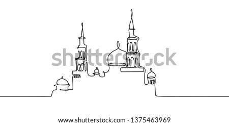 mosque continuous line drawing
