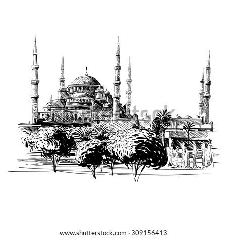 mosque hand drawn unusual