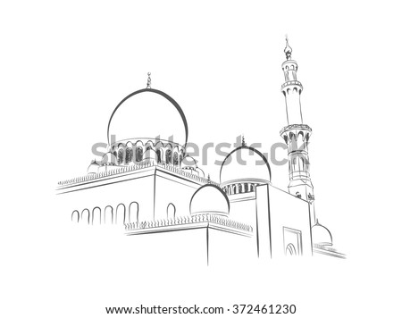 mosque illustration  hand drawn