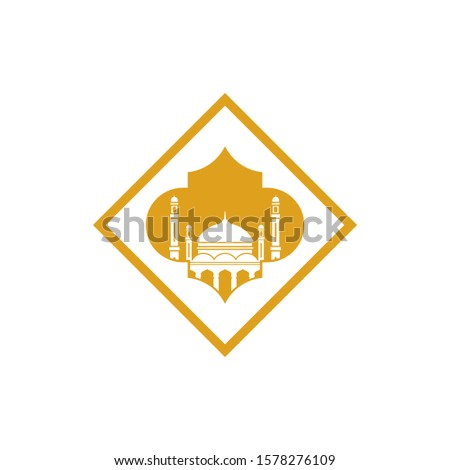 mosque islamic vector with a square shape. illustration of islamic mosque for islamic logo, icon, sign, symbol or celebration