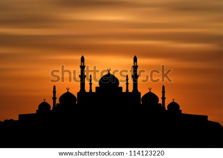 Mosque on Sunset Background (EPS10 Vector)