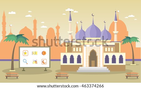 mosque on the background of the