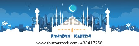 Mosque Ramadan Kareem Muslim Religion Holy Month Banner Flat Vector Illustration