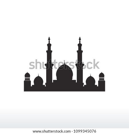 mosque silhouette icon logo