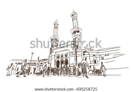 Mosque sketch - Masjid Al Haram in Mecca Saudi Arabia . Vector illustration.