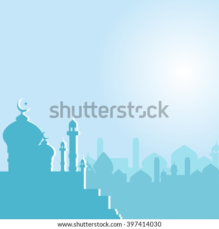 mosque with crescent moon at