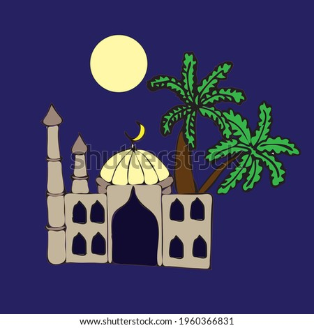 mosque with two minarets and