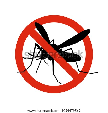 Mosquito warning prohibited sign. Anti mosquitoes, insect control vector symbol. Stop and control mosquito, anti insect illustration