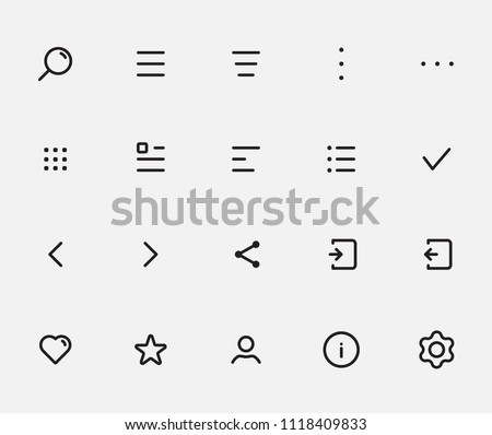 Most common app icon set for navigation and action bars, tabbar. All menu types: hamburger, donner, meatballs, kebab, bento menu. Best customizable icons set with grid for apps and web.