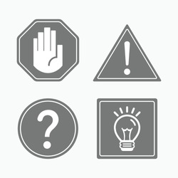 Most common gray attention and guide signs and symbols icons set on white background