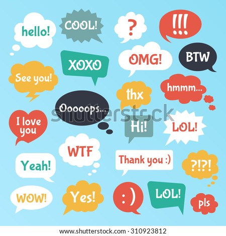 Most common used acronyms and abbreviations on flat style speech bubbles