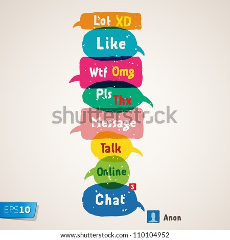 Most common used acronyms and abbreviations on multicolored speech bubbles, vector Eps10 illustration.