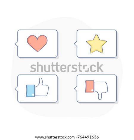 Most common used speech thought bubbles, review, opinion and feedback icon concept. Thumb up or like, thumb down and dislike, bookmark, love icons. Flat outline vector illustration set.