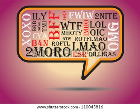 Most commonly used chat and online acronyms and abbreviations on a speech bubble. The acronyms included are wtf,brb,lol,imho,btw, rotfl,fyi,thx,asap,omg,afk,bff,swak,lmao,2moro,2nite,l8r,dilligas,tmi