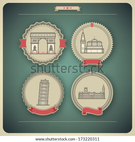 Most famous Architecture Landmarks Around the World, pictured here: Triumphal Arch (France), Kremlin (Russia), Leaning Tower of Pisa (Italy), House of Parliment (England)