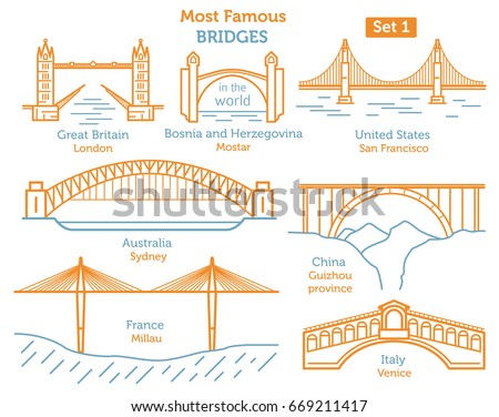 Most famous bridges in the world. Landmarks linear style icon set. Possible use in infographic design. Vector illustration ストックフォト ©