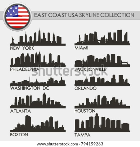 Most Famous East Coast USA Travel Skyline City Silhouette Design Collection Set