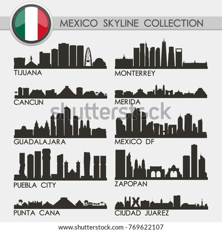 Shutterstock Most Famous Mexico Travel Skyline City Silhouette Design Collection Set