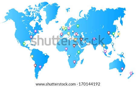 Free vector world map with pins download free vector art stock most important city capitals map pins on world map gumiabroncs Images