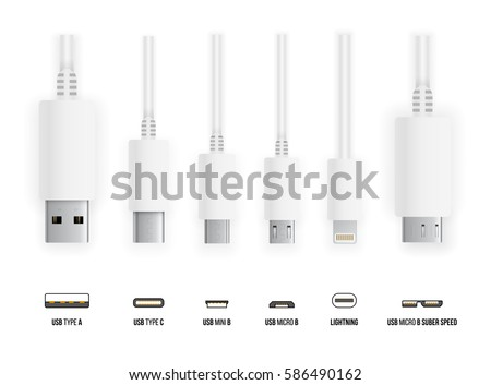 Most of standart USB type A, B and type C plugs, mini, micro, lightning, universal computer white cable connectors, top view vector illustration