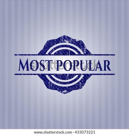 Most Popular badge with denim background