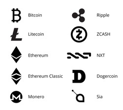 Most Popular Cryptocurrency Black and White Logo Set - bitcoin, litecoin ethereum and other
