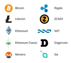Most Popular Cryptocurrency Colored Logo Set - bitcoin, litecoin ethereum and other