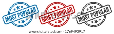 most popular stamp. most popular round isolated sign. most popular label set