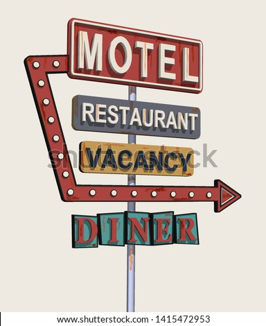 Motel old signage,vintage metal sign. Сток-фото ©