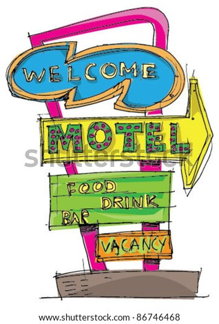 motel sign   cartoon