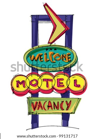 motel sign - cartoon