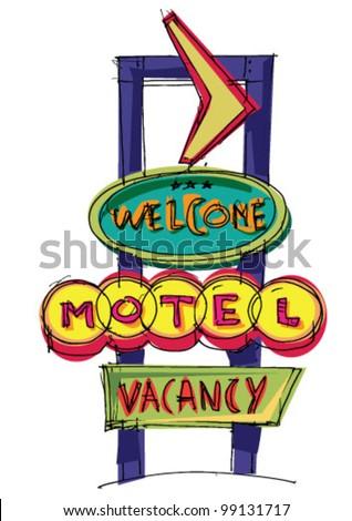 motel sign - cartoon - stock vector