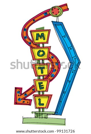 motel sign - cartoon