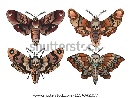 Moth Set Traditional Tattoo Design Set