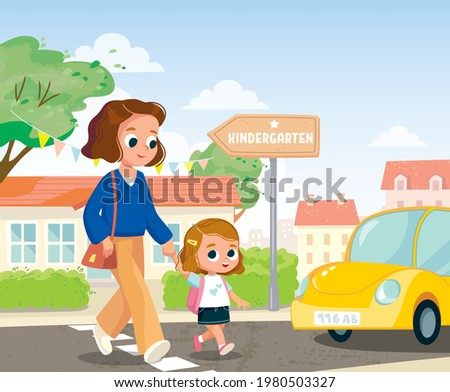 Mother and baby going by street. Mother and baby girl kid cross the street by crosswalk in front of car. Road traffic safety concept.Child and babysitter,nurse,cross the street.How to cross the street
