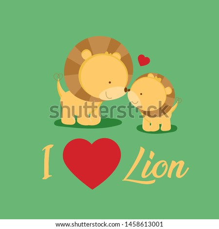 mother and baby lion cartoon