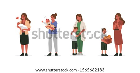 Mother and Child Characters Set. Mother Holding Baby in Arms. Woman Playing with her Toddler Son. Kid Hugging his Mom. Maternity and Mother`s Day Concept. Flat Cartoon Vector Illustration.