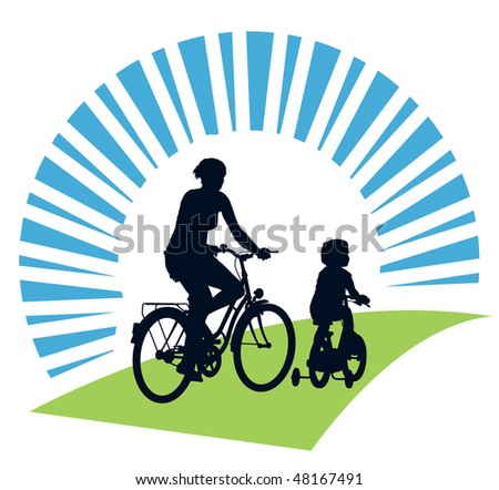 Mother and child cycling on a summer trip.