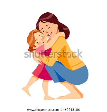 Mother and child. Mom hugging her daughter with a lot of love and tenderness. Mother's day, holiday concept. Cartoon flat isolated vector design.