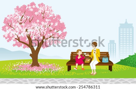 mother and child picnic in