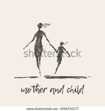 Mother and child running silhouette, hand drawn vector illustration, sketch