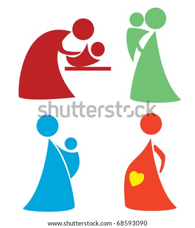 mother and child set . simple icons and symbols of woman and baby part ...